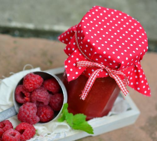 jar of jam raspberries berries