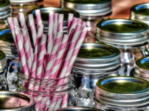 jar, stiklainiai, masonas & nbsp, stiklainiai, šiaudai, šiaudai, rožinė & nbsp, balta, saldainiai & nbsp, cukranendrių, vakarėlis, stiklainiai ir šiaudai