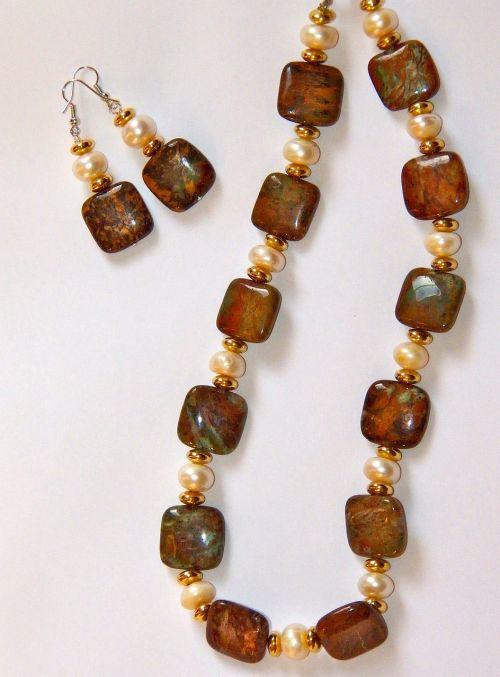 jasper stone necklace earring