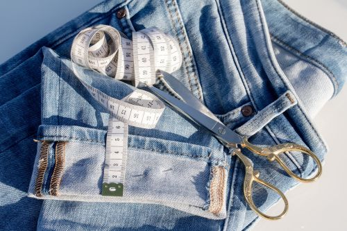 jeans tape measure fabric scissors