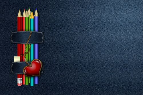 Jeans Background With Pencils