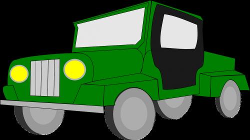 Jeep,transporto priemonė,keturių ratų pavara,keturių ratų pavara,4x4,sunkvežimis,žalias,nemokama vektorinė grafika