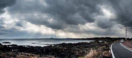 Jeju sala,pakrantės kelias,apšviesti