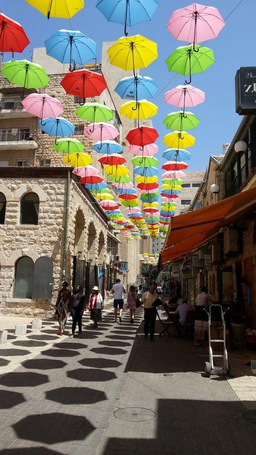 jerusalem umbrellas street