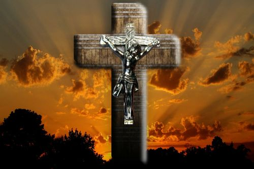jesus crucifixion sunset