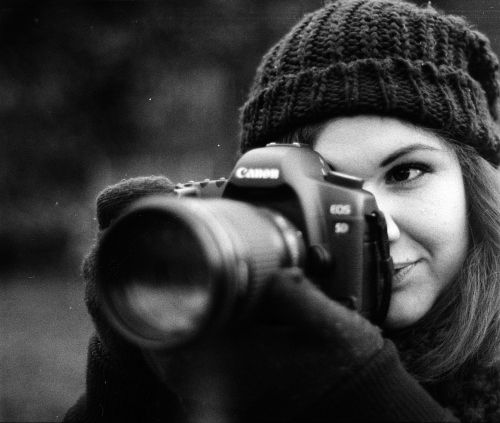 Young Woman, Camera, Canon