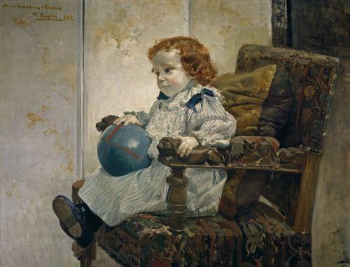 Joaquin sorolla,vaikas,mergaitė,kėdė,menas,dažymas,aliejus ant drobės,meno,meniškumas,portretas