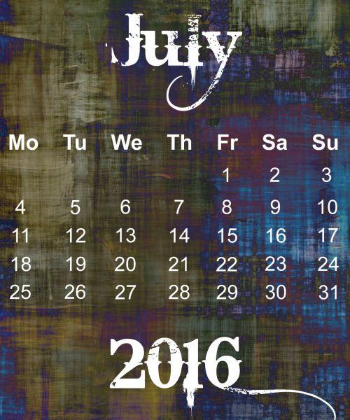 July 2016 Grunge Calendar