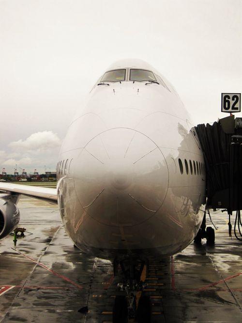 jumbo jet docked lufthansa 747-830 lower saxony
