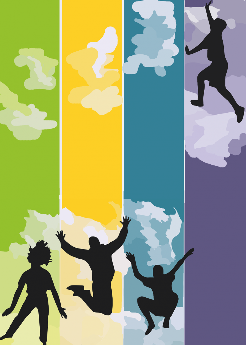 jump clouds colorful
