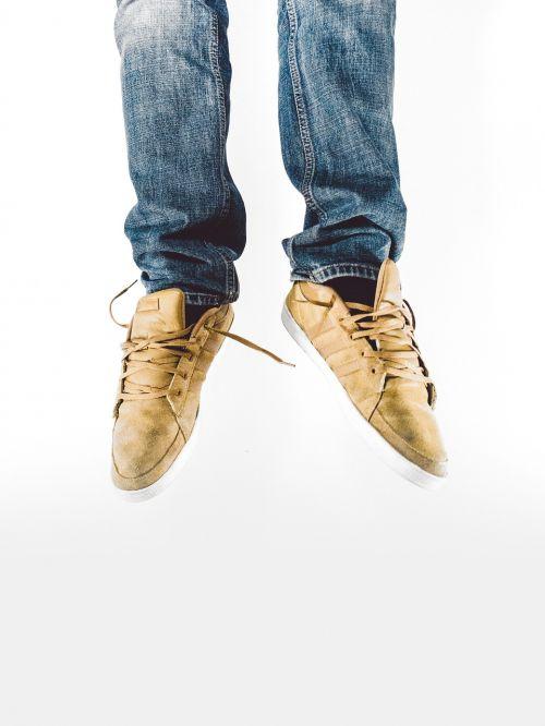 jump sneakers feet
