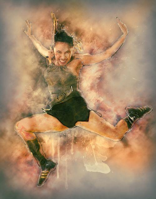 jumping woman girl