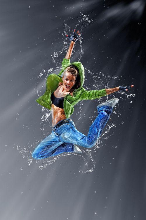 jumping dancing girl