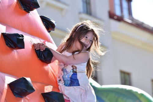 jumping castle children climbs