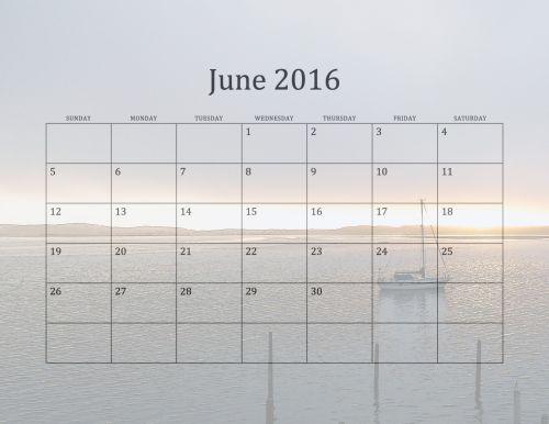 June 2016 Beach Calendar