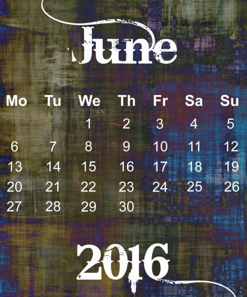 June 2016 Grunge Calendar