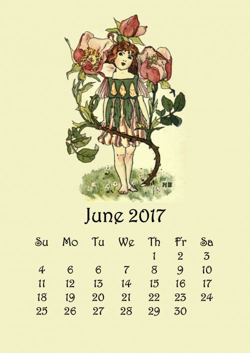 June Flower Fairy Calendar