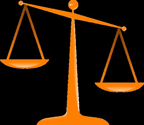 justice scales orange