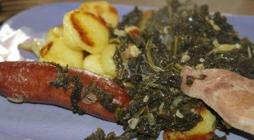 kale smoked pork chops fried potatoes