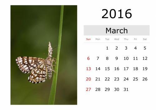Calendar - March 2016 (English)