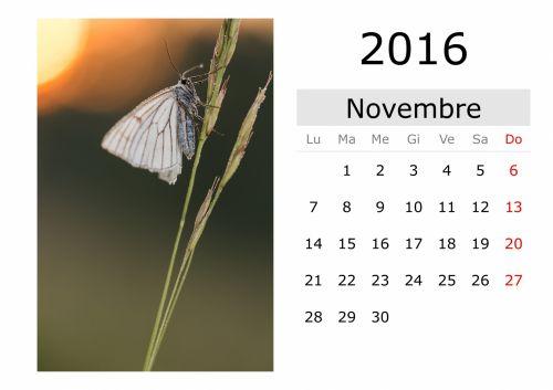 Calendar - November 2016 (Italian)