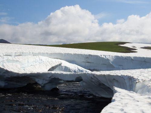 kamchatka,kalnų plynaukštė,tundra,sniegas,sniego tiltas,upelis,vasara,Rugpjūtis,atvira erdvė,keliai,aukštis,kraštovaizdis,gamta,kelionė,upė,kalnai,highlangs,keliauti,keliauti,turizmas,gėlės,saulėlydis,vakarinis dangus,vasaros diena,sniegas,sniego urvas,urvas