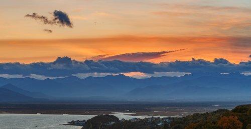 kamchatka  sunset  mountains