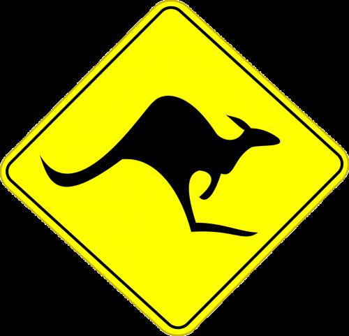 kangaroo australia road sign