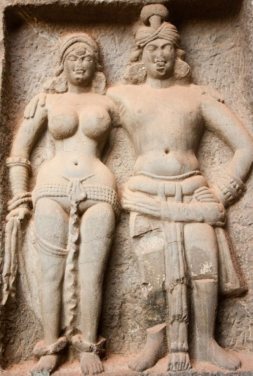 karla caves stone carvings statues