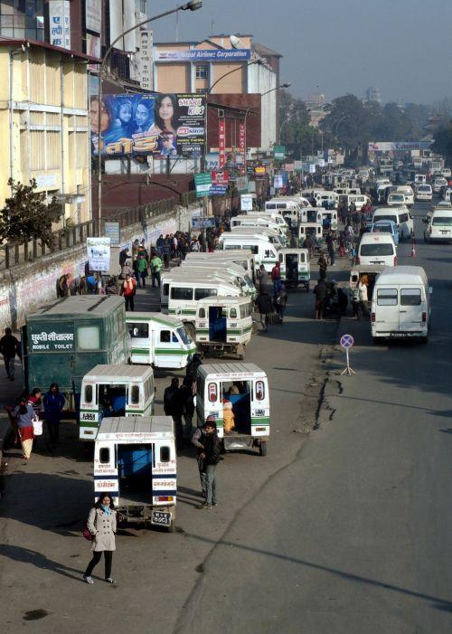skubėti & nbsp, valandą, katmandu, mikroautobusas & nbsp, stotis, ratna & nbsp, parkas, Nepalas, Katmandu piko valandos