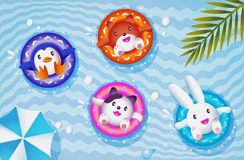 kawaii animals  swimming pool  kawaii