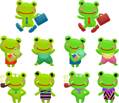 kawaii frog  man frog  woman frog