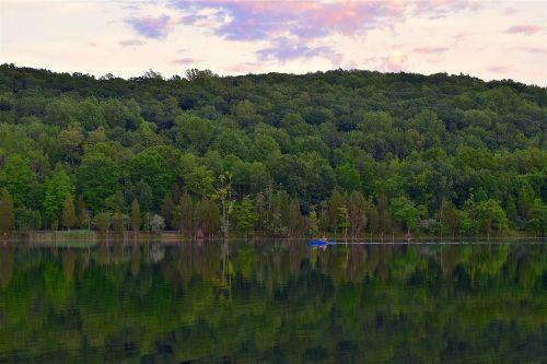 kayak lake twilight