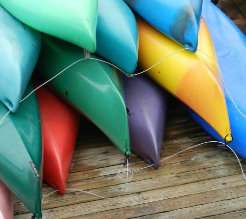 kayaks boats colorful