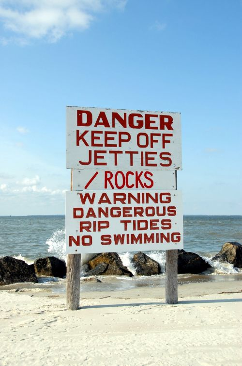 Keep Of Jettie Warning Sign