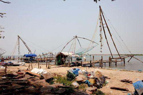 kerala,Cochi,fischer,Pietų Indija,žvejybos tinklas,žvejyba,Indija,žuvis