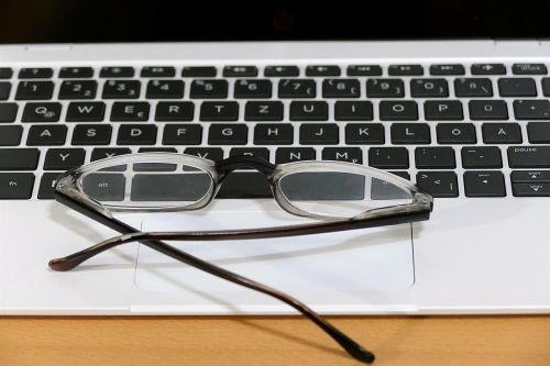 keyboard glasses workplace