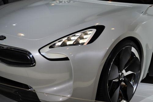 kia sports car white car headlights