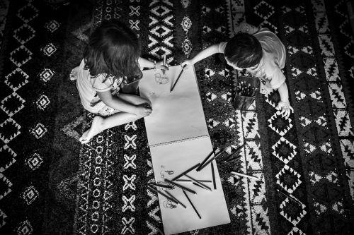 kids playing writing