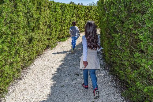 kids playing maze