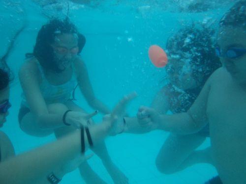 Kids Having Fun Under Water