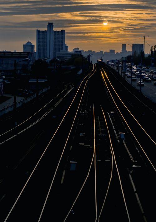 kiev city sunset