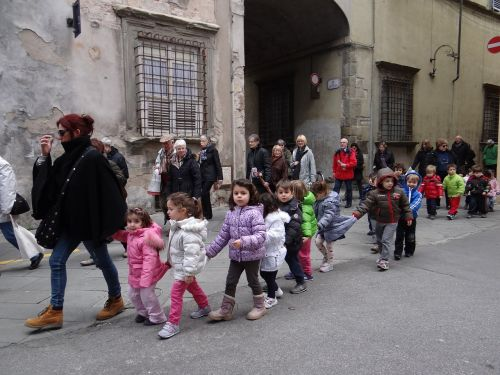 kindergarten children walk