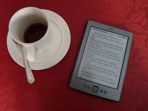 kindle e-reader coffee