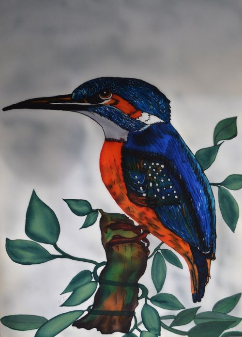 kingfisher alcedo atthis silk painting