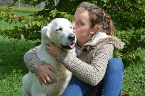 kiss girl dog young woman