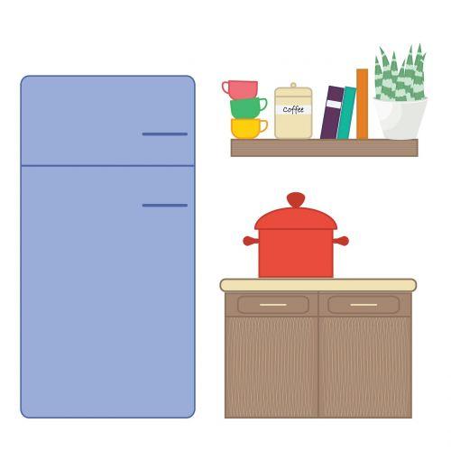 kitchen cooking flat design