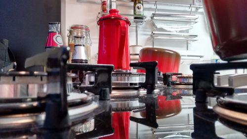kitchen red stove