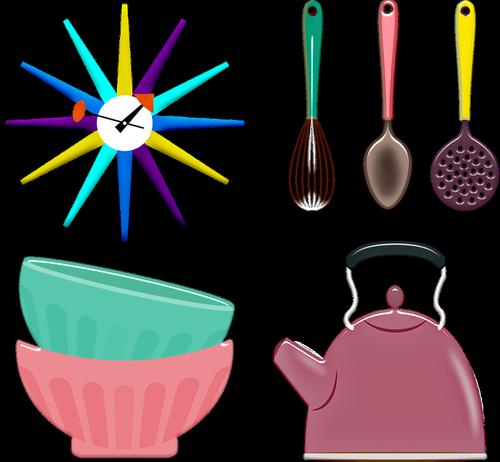 kitchen utensils  retro kitchen  bowls