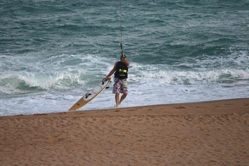 Kite Surfer Getting Ready
